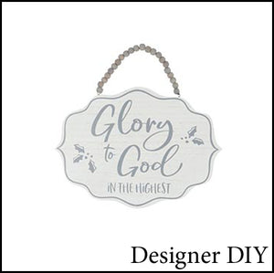 Glory to God Wood Sign | White and Gray - Designer DIY
