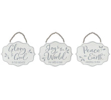 Load image into Gallery viewer, Peace On Earth Wood Sign | White and Gray - Designer DIY