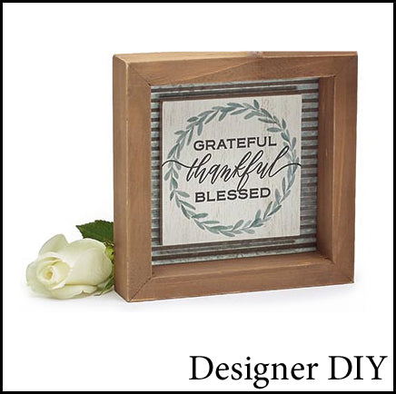 Thankful Grateful Blessed Framed Sign - Designer DIY