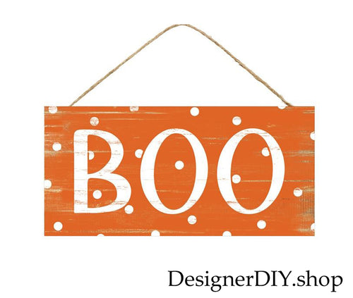 BOO Halloween Sign | Orange & White - Designer DIY