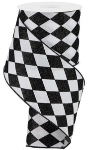 "4"" Harlequin Black and White Ribbon"