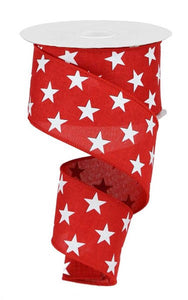 "2.5"" Red Linen with White Stars Ribbon - Designer DIY"