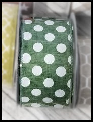 "2.5"" Green with White Polka Dot Ribbon - Designer DIY"