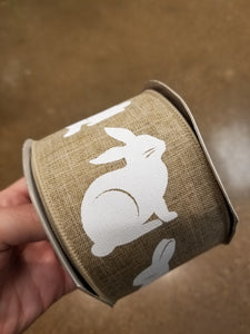 "2.5"" Natural with White Bunny Rabbit Ribbon"