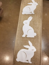 "Load image into Gallery viewer, 2.5"" Natural with White Bunny Rabbit Ribbon"