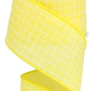 "2.5"" Yellow with White Stitched Plaid Ribbon - Designer DIY"