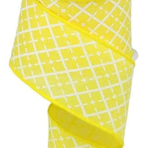 "2.5"" Yellow with White Glitter Checkered Plaid Ribbon - Designer DIY"