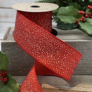 "2.5"" Red Glitter Dot DESIGNER Ribbon - Designer DIY"