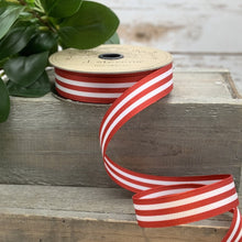"Load image into Gallery viewer, 1"" Red Stripe DESIGNER Ribbon 