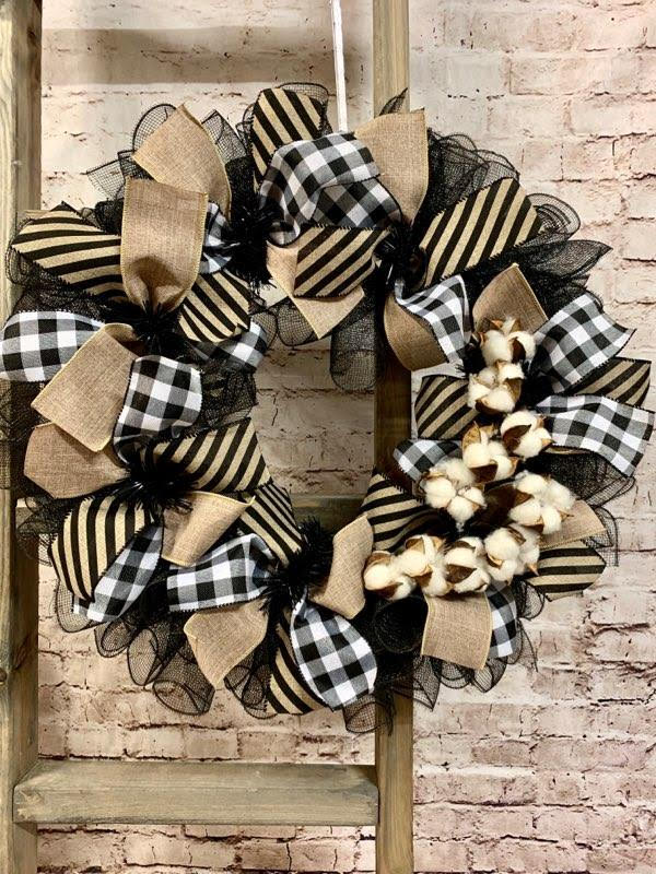 Buffalo Check & Cotton Farmhouse Wreath - Designer DIY