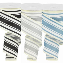 "Load image into Gallery viewer, 2.5"" Ivory and Gray Stripe Ribbon - Designer DIY"