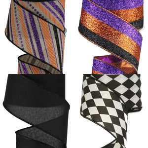 "2.5"" Halloween Glitter Stripe Ribbon - Designer DIY"