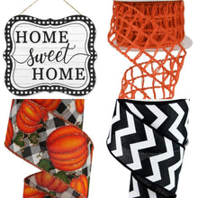 "Load image into Gallery viewer, 2.5"" Orange Open Weave Ribbon - Designer DIY"