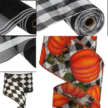 "Load image into Gallery viewer, 2.5"" Black and White Harlequin Ribbon - Designer DIY"