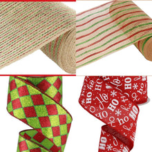 "Load image into Gallery viewer, 2.5"" Christmas Harlequin Ribbon - Designer DIY"