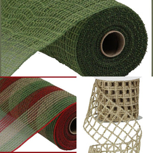 "10.5"" Moss Red Natural Striped Mesh - Designer DIY"