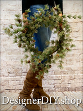 Load image into Gallery viewer, Gold Glitz Pine Wreath with Pine Cones - Designer DIY