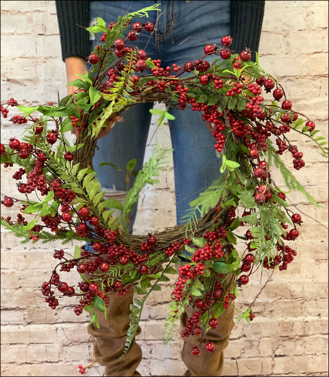 Red Berry Grapevine Wreath - Designer DIY