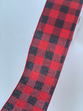 "Load image into Gallery viewer, 2.5"" Red and Black Buffalo Plaid Ribbon - Designer DIY"