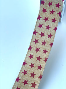 "2.5"" Natural with Dark Red Star Ribbon - Designer DIY"