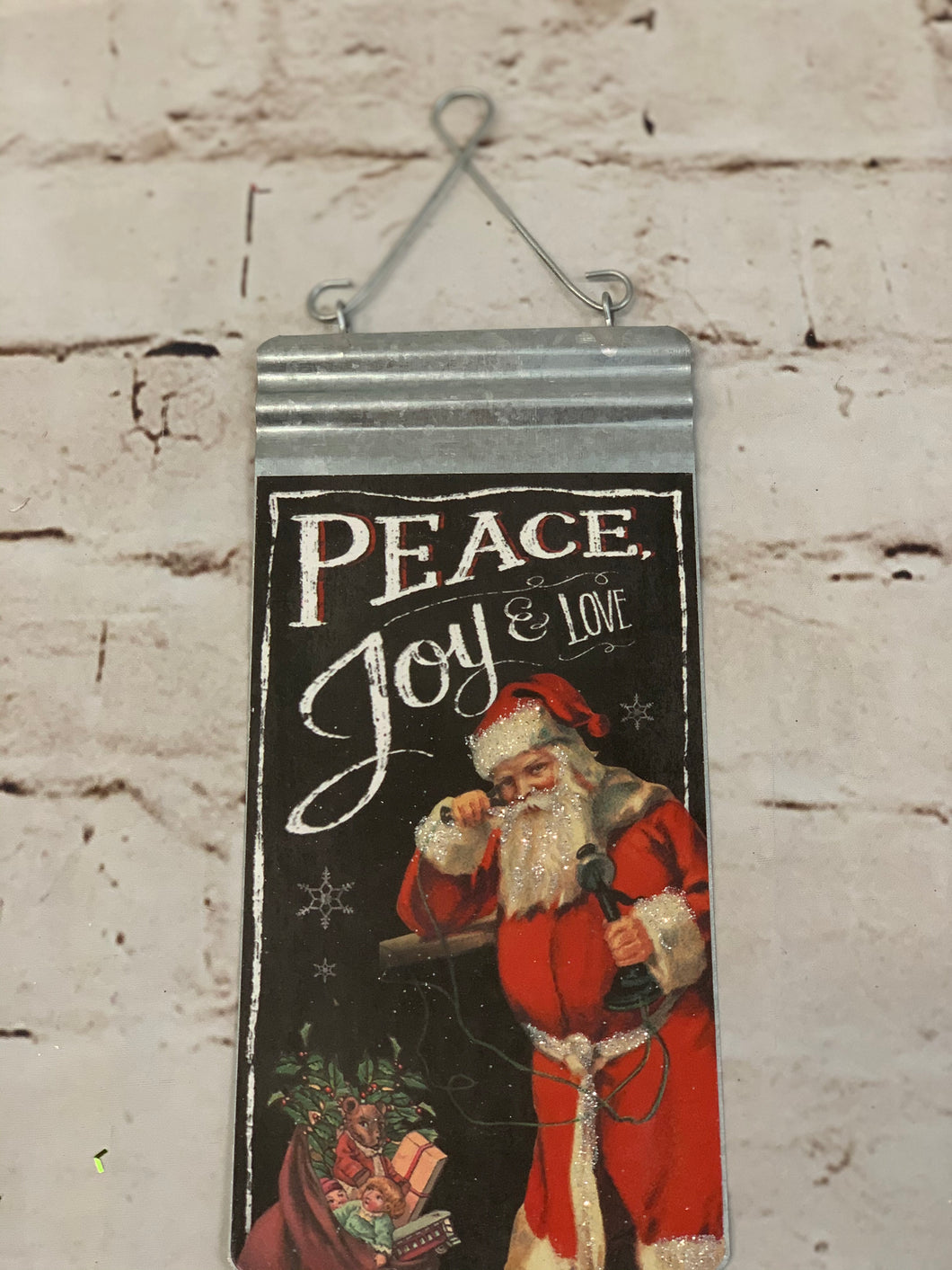 Peace and Joy Santa Sign