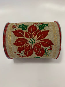 "5"" Christmas Poinsettia Ribbon - Designer DIY"
