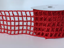 "Load image into Gallery viewer, 4"" Red Metallic Open Weave Ribbon - Designer DIY"