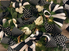 "Load image into Gallery viewer, 4"" Black & White Dots Double Sided DESIGNER Ribbon - Designer DIY"