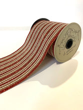 "Load image into Gallery viewer, 4"" Red & White Natural Stripe DESIGNER Ribbon - Designer DIY"