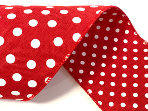 "4"" Red & White Dots Double Sided DESIGNER Ribbon - Designer DIY"