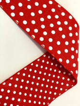 "Load image into Gallery viewer, 4"" Red & White Dots Double Sided DESIGNER Ribbon - Designer DIY"