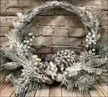 Load image into Gallery viewer, Flocked Grapevine Wreath with Snowflakes - Designer DIY