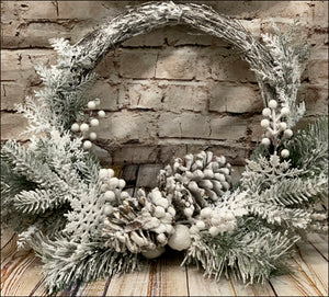 Flocked Grapevine Wreath with Snowflakes - Designer DIY