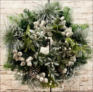 Flocked Greenery Wreath | Pine Cones & Flocked Berries - Designer DIY