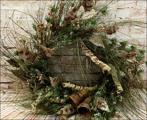 Pine Wreath with Leaves, Bells, and Pine Cones - Designer DIY