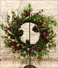 Load image into Gallery viewer, Greenery Wreath with Red Berries & Ivory Jingle Bells - Designer DIY