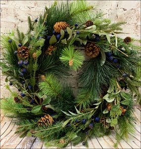 Pine Wreath with Blueberries - Designer DIY