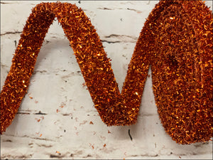 Orange Glitter Ribbon - 5 Yards - Designer DIY