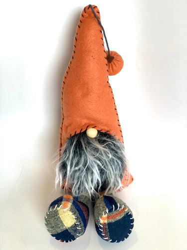 Fall Plaid Gnome | Navy Blue and Orange - Designer DIY