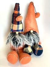 Load image into Gallery viewer, Fall Plaid Gnome | Orange and Navy Blue - Designer DIY