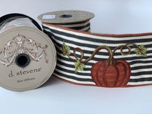 "Load image into Gallery viewer, 4"" Pumpkin Embroidered DESIGNER Ribbon - 5 YARDS - Designer DIY"