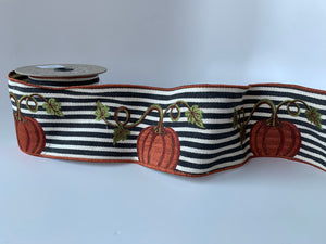 "4"" Pumpkin Embroidered DESIGNER Ribbon - 5 YARDS - Designer DIY"