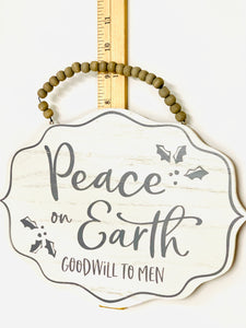 Peace On Earth Wood Sign | White and Gray - Designer DIY