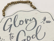 Load image into Gallery viewer, Glory to God Wood Sign | White and Gray - Designer DIY