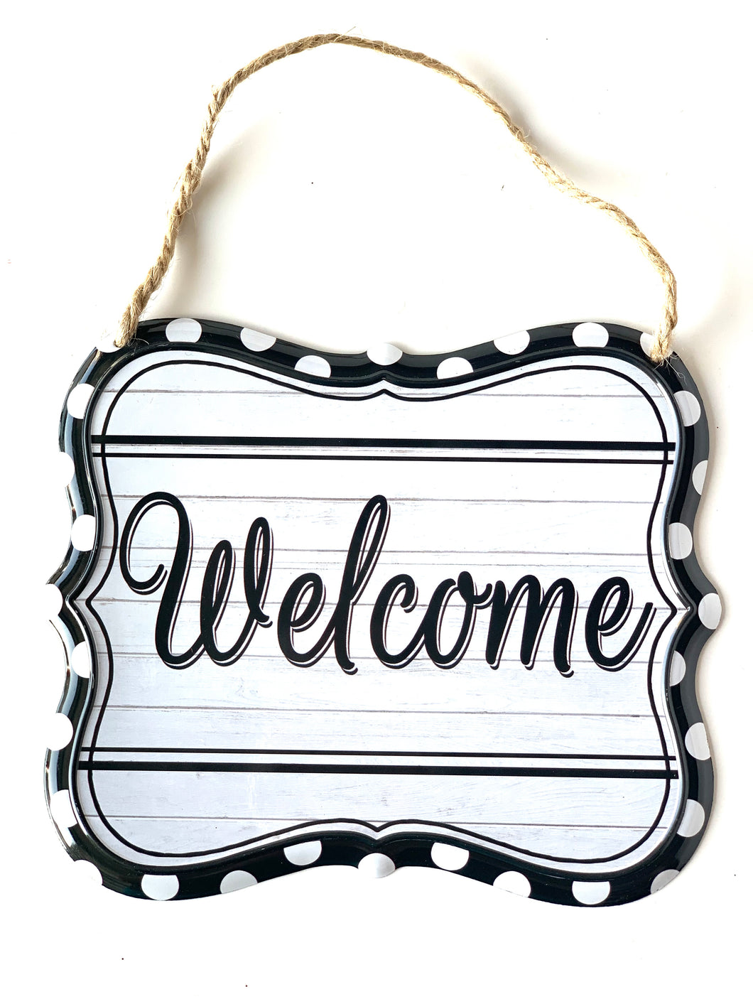 Welcome Tin Sign | Black & White - Designer DIY