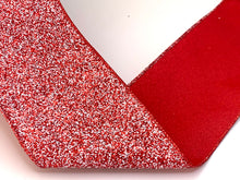 "Load image into Gallery viewer, 4"" Red & White Glitter DESIGNER Ribbon - Designer DIY"