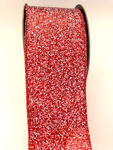 "2.5"" Red & White Glitter DESIGNER Ribbon - Designer DIY"