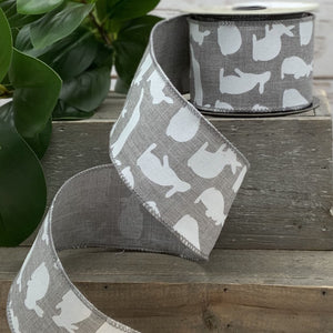 "2.5"" Gray Linen with White Bunny Rabbit Ribbon - Designer DIY"