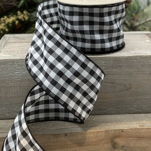 "2.5"" Black & White Check DESIGNER Ribbon - Designer DIY"