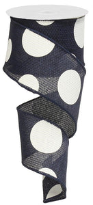 "2.5"" Navy with White Polka Dot Ribbon - Designer DIY"